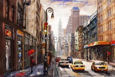 Obraz obraz olejny na płótnie, widok ulic Nowego Jorku, kobieta pod czerwonym parasolem, żółte taksówki, nowoczesna grafika, amerykańskie miasto, ilustracja Nowy Jork