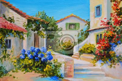 Obraz olejny na płótnie z pięknym domów w pobliżu morza