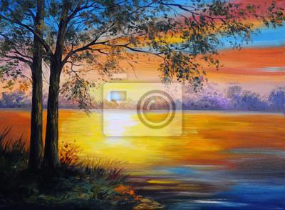 Obraz olejny pejzaż - drzewa w pobliżu jeziora