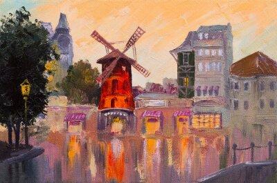 Obraz olejny pejzaż - Moulin Rouge, Paryż, Francja