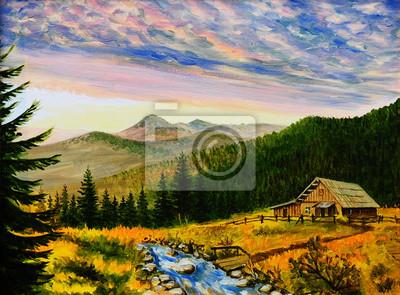Obraz olejny pejzaż - zachód słońca w górach, wieś dom