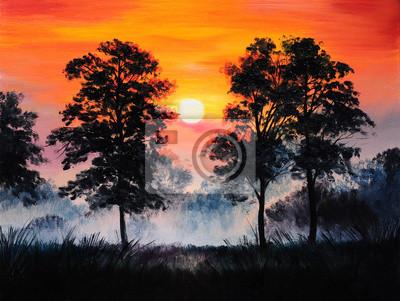 Obraz olejny pejzaż - zachód słońca w lesie, mgły