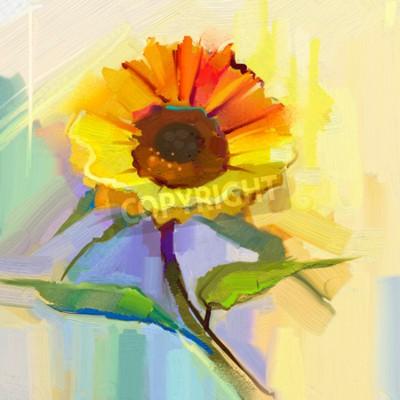 obraz olejny pojedynczy żółty słonecznik z zielonymi liśćmi. Ręcznie malowane Jeszcze kwiat życia w miękkich żółty, niebieski zielony kolor tła.