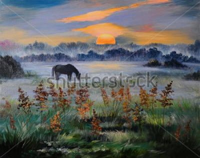 Obraz Obraz olejny pola o zachodzie słońca