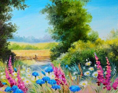 Obraz olejny - pole z kwiatów i lasów abstrakcyjnego rysunku