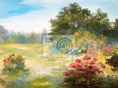 Obraz olejny - pole z kwiatów i lasu