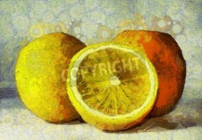 Obraz Obraz olejny pomarańcze owoce na białym