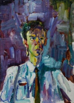 Obraz Obraz olejny portret z męskiej portret w jasnych kolorach na płótnie