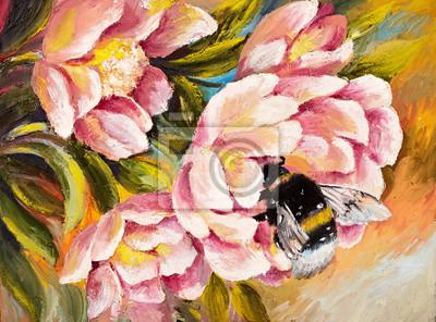 Obraz olejny - Pszczoła siedzi na kwiat