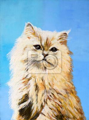 Obraz obraz olejny - rysunek kota, kolorowe zdjęcie, streszczenie dra