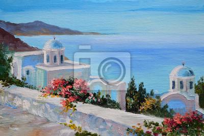 Obraz olejny - Santorini, dom blisko morza