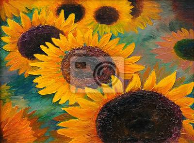 Obraz obraz olejny - słoneczniki, streszczenie sztuki