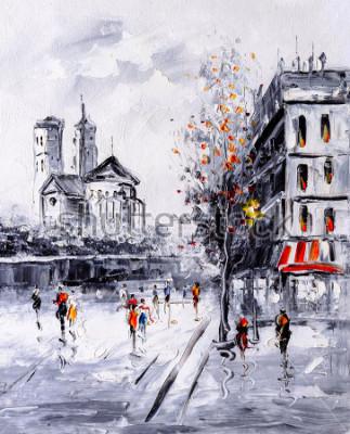 Obraz Obraz olejny - Street View w Paryżu