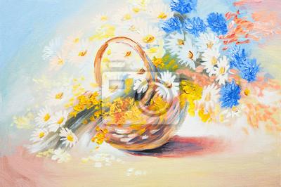 obraz olejny - streszczenie bukiet wiosennych kwiatów