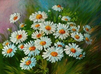 Obraz olejny - Streszczenie ilustracji z kwiatów, stokrotki, zieleni
