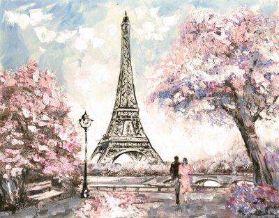 Obraz Obraz olejny, Ulica Widok na Paryż. Przetarg krajobraz, wiosna