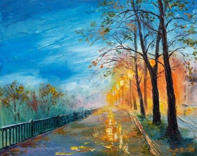 Obraz Obraz olejny ulicy jesienią wieczorem