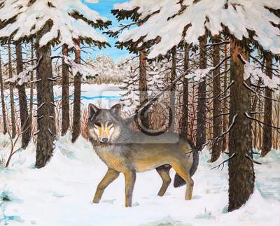 obraz olejny - wilk w lesie sosnowym, zima, kolorowe zdjęcie