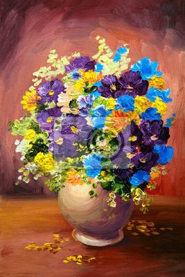 Obraz olejny wiosennych wielokolorowe kwiaty w wazonie na płótnie
