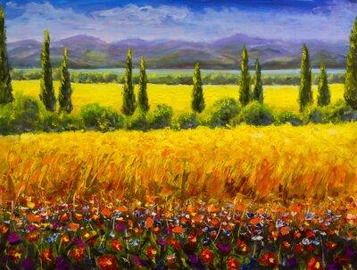 Obraz Obraz olejny Włoski letni krajobraz Toskanii, zielone krzewy cyprysów, żółte pola, czerwone kwiaty, góry i błękitne niebo grafika na płótnie