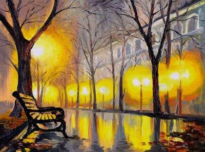 Obraz olejny z jesiennej ulicy, dzieła sztuki