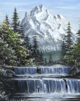 Obraz Obraz olejny z kaskadowych wodospadów rzeki z góry w tle