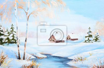 obraz olejny zimowy krajobraz, mrożone rzeki w lesie, kolor