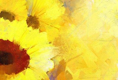 Obraz Obraz olejny złoty słonecznik tła.