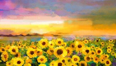 Obraz Obraz olejny żółto-złoty słonecznik, stokrotka kwiaty na polach. Zachód słońca krajobraz z łąki Dziki, wzgórza i niebo w kolorze pomarańczowym, niebieskim fioletowym tle. Farba rąk letnich kwiatów w s
