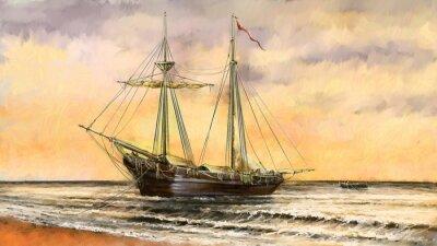 Obraz Obrazy olejne krajobraz morski. Statki, łodzie, fisherman.Digital sztuki