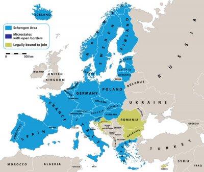 Obraz Obszar Schengen na mapie politycznej Europy. Wszystkie dane są w warstwach na łatwe edytowanie map wektorowych. Tło dla infografiki.