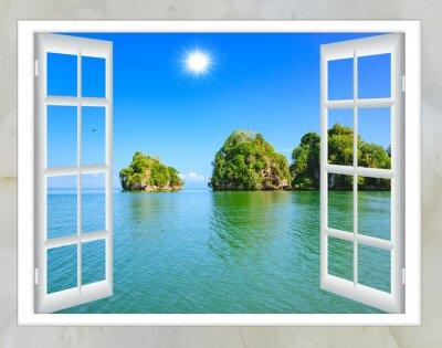 Obraz Ocean widok z okna na wyspie słoneczny letni dzień