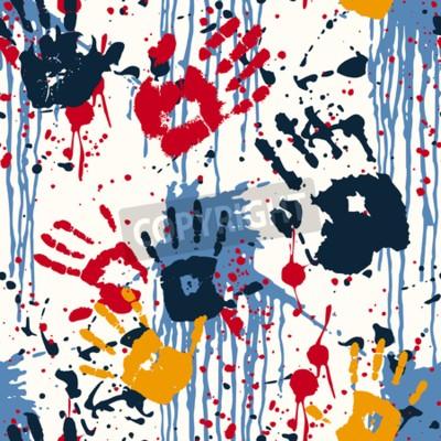 Obraz odbitki ręczne i plamy, abstrakcyjny wektor szwu