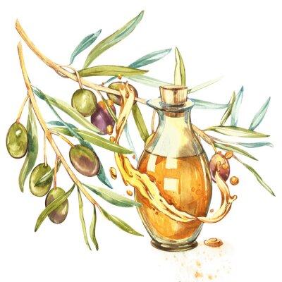 Obraz Oddział dojrzałych zielonych oliwek jest soczysty wylany olejem. Krople i rozpryski oliwy z oliwek. Akwarela i botaniczna ilustracja odizolowywająca na białym tle.