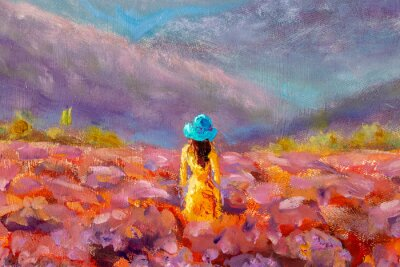 Obraz Oil Painting Beautiful Girl stands with her back in a lavender pink flower field - floral French Tuscan landscape