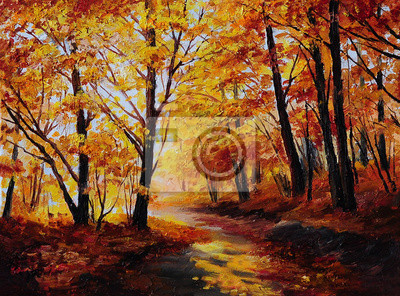 Obraz Oil painting - colorful autumn forest , art work