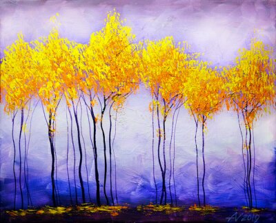 Obraz Oil painting landscape, abstract colorful gold trees