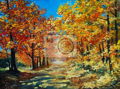 Obraz Oil Painting landscape - autumn forest, bright red leaves, blue