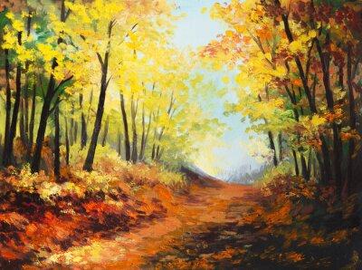 Obraz Oil painting landscape - colorful autumn forest