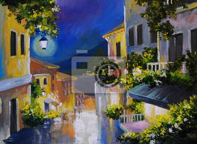 Oil painting landscape - street near the sea, night city, lanter