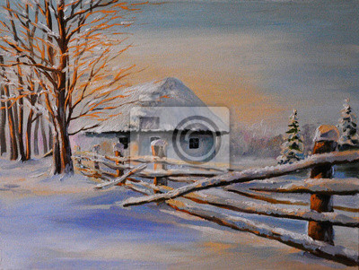 Oil painting of winter house , art work