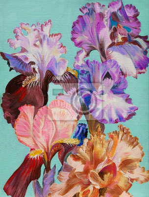 Obraz oil painting, watercolor flowers iris, colorful art