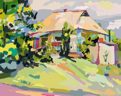 Obraz oil paintings of summer village