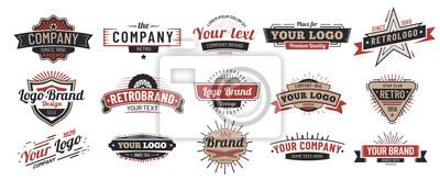 Obraz Old badges. Vintage sign, retro premium badge and logo emblem frame vector set