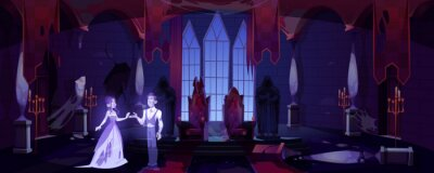 Obraz Old castle hall with ghosts couple dance in darkness. Scary throne room with spiderweb. Abandoned palace interior with moonlight falling on floor, halloween spooky scene. Cartoon vector illustration