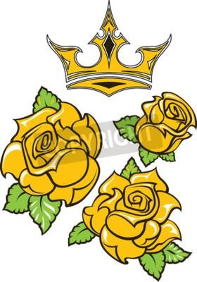 Old-school tatuaż w stylu trzech żółtych róż z zielonymi liśćmi i złotą koroną. Edytowalne ilustracji wektorowych na białym tle.