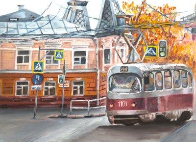 Obraz Old tram, oil paintings landscape, city. Fine art. Autimn in the city.