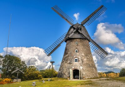 Obraz Old windmill by summer day