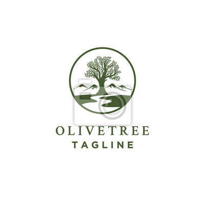 Obraz olive tree logo designs with creeks or rivers symbol