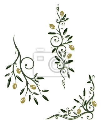 Obraz Oliven, Olivenzweige, Zweig, Küche, kochen, vector set